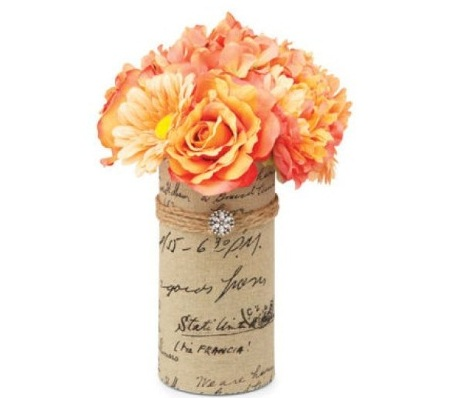 Share the Love Spring Floral Burlap Vase